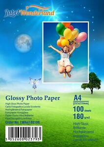100 sheets 180gsm A4/A5/6x4/13x18 HighGlossy Photo Paper For Inkjet Printers LW