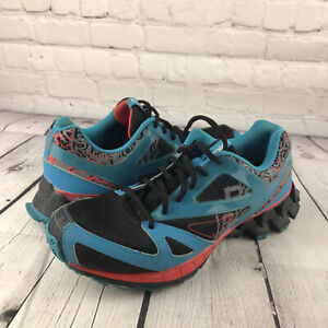 Reebok ZigTech Blue Red Colorful Running Shoes Women's Size 6.5