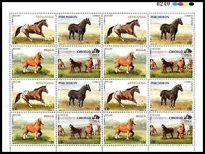 Horse breed Appaloosa Percheron Belgian Heavy Draf Uruguay #2163 MNH sheet cv$60