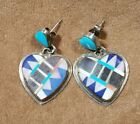 Vintage+Sam+Kee+Navajo+Heart+Earrings+Turquoise+%26+Other+Stones+Inlay