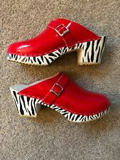 **ONE OF A KIND** Red Patent Leather Clogs w/ HandPainted Zebra Heels   Size 38