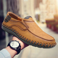 Casual Men's Leather Shoes Antiskid Breathable Slip on Driving Loafers Moccasins
