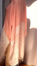 AJ NEXT Linen coral pink ivory holiday beach wrap cape shawl cover stripe M L XL