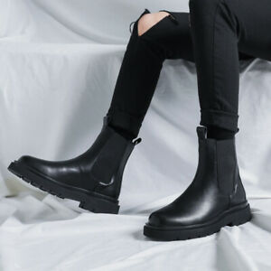 Men's Martin Korean Chelsea Ankle Boots British Style High Top Fashion Shoes