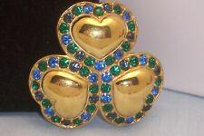 Signed Swarovski Shamrock Heart Clover Brooch Multi Color Stones