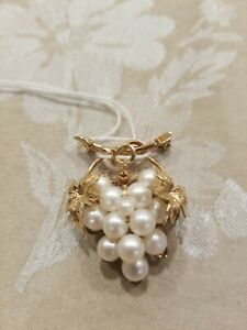 Beautiful 1/20th 12K Yellow Gold Filled Grape Cluster Pin w/Freshwater Pearl