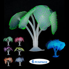 6pcs Glowing Artificial Coral Aquarium Fish Tank Silicone Sea Anemone Ornament