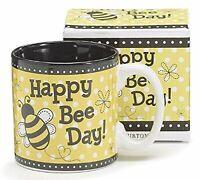 Happy Bee Day Coffee Mug Cup Tea 13oz Gift Box Birthday Bumble Bees Yellow Black