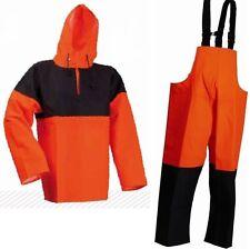 Lyngsoe Heavy Duty PVC Giacca / Smock & Bib 'n' Brace Oilskin Bnwt Arancione & Navy