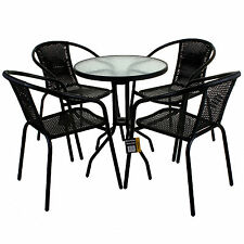 5 PIECE GARDEN PATIO ALL WEATHER BLACK WICKER BISTRO SET PATIO OUTDOOR FURNITURE