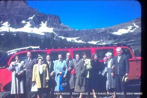 "1950s Glacier Park Red Bus Vintage Red Border Kodak Slide WIth ""Gang""  A Classic"