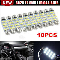 10x 41mm 12V White 3528 12 SMD LED Car Interior Festoon Dome Bulb Lamp Light LOT
