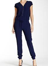 VINCE $395 Zip V-Neck Drawstring Waist Crepe Jumpsuit Blue Marine NWT 8