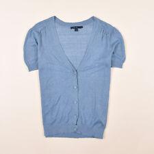 Suelo SEÑORA CARDIGAN SUÉTER Sweater talla 14 (de 38) 100% lino azul 80019