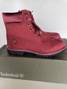 Women's Timberland Premium Waterproof Boots (SIZE 7.5 M) Nubuck Pomegranate