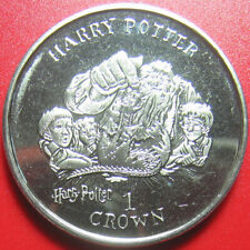 "2001 ISLE OF MAN 1 CROWN HARRY POTTER RON HERMIONY HAGRID ""NORBERT BABY DRAGON"""