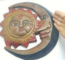 Sun Moon Wood Carved Art Sculpture Stencil Primitive Home Decor Handmade Vintage