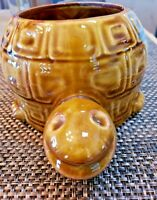 "Vintage McCoy Turtle Planter #740 USA Pottery 8.5""L x 6""W Smiling Face Brown MCM"