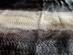 Hair On Calfskin leather hide Cream/Brown Laser Cut Snake Skin Pattern LARGE!