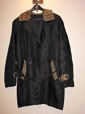 Imper noir  léopard taille 40 fausse fourrure