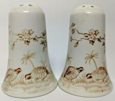 Vintage Furnivals BROWN QUAIL Salt and Pepper Bell Shape 1913 England Ironstone