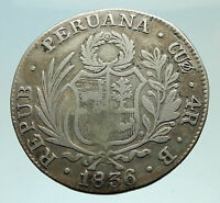 1836B PERU South America Antique LIBERY COAT of ARMS Silver 4 Reales Coin i76017