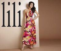 LADIES COLOURFUL FLORAL PRINT HALTERNECK MAXI DRESS SIZES 10 12 14 16 BNWT
