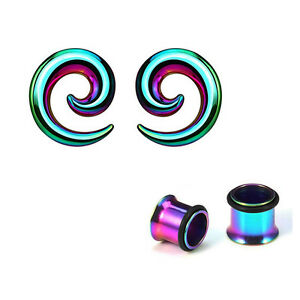 Pair of Anodized Titanium Seamless Steel Spiral Ear Tapers with Ear Plugs
