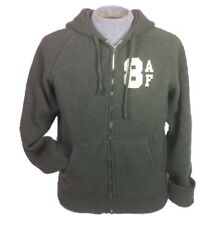 Abercrombie & Fitch Army Green Wool Hoodie Letterman Sweatshirt Size Large