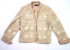 Anne klein embroidered tribal button blazer jacket tan brown size 12 large