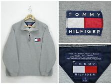 Mens TOMMY HILFIGER Vintage Sweatshirt Half Zip Neck Big Logo Spell Out Size S