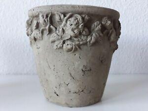 Blumenvase Blumentopf mit Blüten Stein/Beton Optik o.ä. ca. 17.5 cm