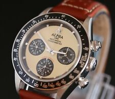 Alpha Chronograph Mens Watch Glass Display Back Brown Strap