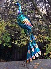 NEW : Vivid Metal Peacock : Garden Ornament : Bird : 90 Cm