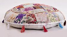 "32"" White Round Floor Pillow Bohemian Patchwork floor cushion pouf Vintage India"