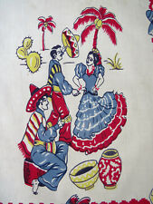 Southwestern Spanish Mexican Dish Tea Towel Flamenco Dancers Gourds Pottery