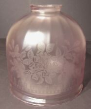 Antique Vintage Hand Blown Deeply Etched Floral Boudoir Size Pink Shade