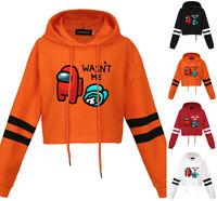 Girls Among Us Imposter Gamer Funny Crop Hoodie Sweatshirt Wasn't Me Tops