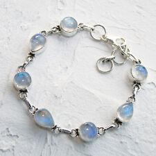 Mondstein Armband Silber 925 Echt Sterlingsilber Armkette Weiß blau schimmernd t
