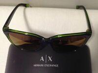 Armani Exchange AX4031 Sunglasses Purple Green Transparent w/Gold Mirror Lens
