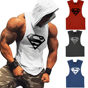 Men Super Workout Athletic Gym Muscle Lightweight Sleeveless Hoodies Shirts