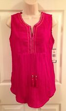 NEW Kim Rogers Sz M Sleeveless Top Embellished Split Neck Crush Pleated NWT $40