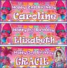 2 x personalised Trolls Poppy birthday banner photo girls children party deco