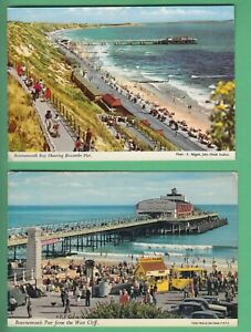 4 CARDS OF BOURNEMOUTH, PLEASURE GARDENS, WEST CLIFF, CENTRAL & BOSCOMBE PIER