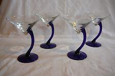 Set of 4 cobalt handle unique martini glasses