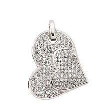 Collana a cuore argento sterling platino placcato cuore ciondolo con