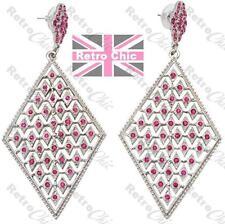 "4""long BIG HOT PINK crystal RHINESTONE diamond EARRINGS fuchsia SILVER TONE"