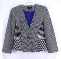 womens black white multi-pattern ANN TAYLOR blazer suit jacket wool MEDIUM 10