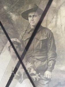 ANTIQUE VINTAGE ORIGINAL OLD 1918 WEDDING PHOTO AUSTRALIAN SOLDER AND BRIDE