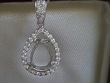 Elegant Women's 10K White Gold Pear Cut Semi Mount Diamonds Necklace Pendent